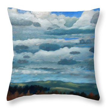 Throw Pillow featuring the painting Clouds Over South Bay by Gary Coleman