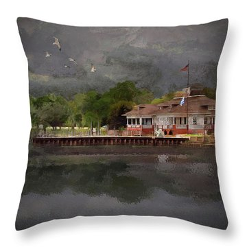 Clouds Over The Harbor Throw Pillow