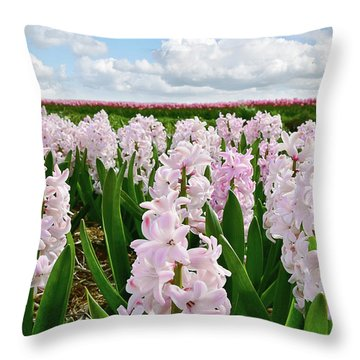 Clouds Over The Pink Hyacinth Field Throw Pillow by Mihaela Pater
