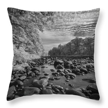 Clouds Over The River Rocks Throw Pillow