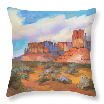 Throw Pillow featuring the painting Clouds Passing Monument Valley by Diane McClary