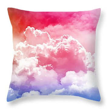 Throw Pillow featuring the photograph Clouds Rainbow - Nuvole Arcobaleno by Zedi