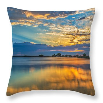 Clouds Reflected At Sunrise Throw Pillow by Marc Crumpler