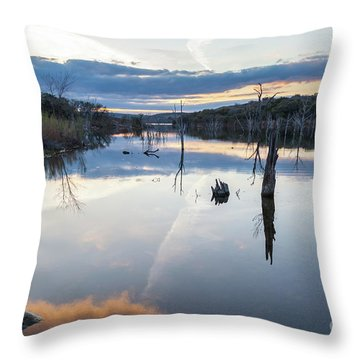 Clouds Reflecting On Large Lake During Sunset Throw Pillow