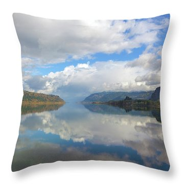 Clouds Reflection On The Columbia River Gorge Throw Pillow by David Gn