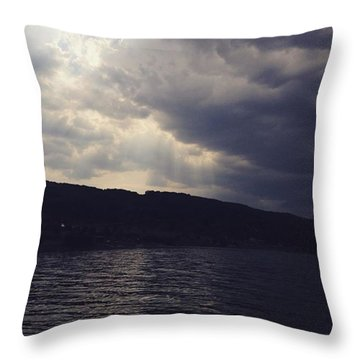 #clouds #sky #cloud #blueskys Throw Pillow by David Hendrych