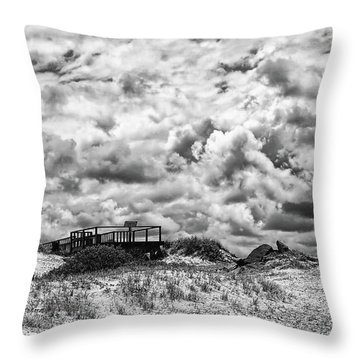 Throw Pillow featuring the photograph Cloudy Beach Black And White By Kaye Menner by Kaye Menner