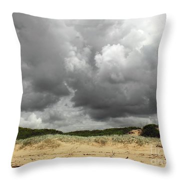 Throw Pillow featuring the photograph Cloudy Beach II By Kaye Menner by Kaye Menner