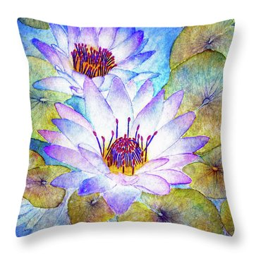 Cloudy Blue Lilies Throw Pillow