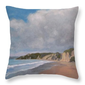 Cloudy Day At Summerland Beach Throw Pillow by Jennifer Boswell