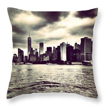 Cloudy Day In #nyc Throw Pillow