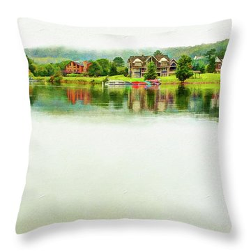 Cloudy Day On The Lake Throw Pillow