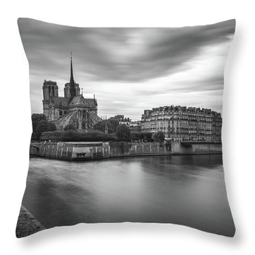 Cloudy Day On The Seine Throw Pillow