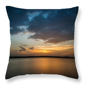 Cloudy Lake Sunset Throw Pillow