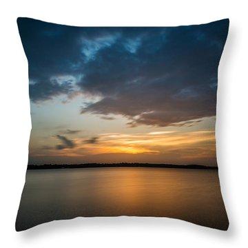 Cloudy Lake Sunset Throw Pillow