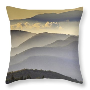 Cloudy Layers On The Blue Ridge Parkway - Nc Sunrise Scene Throw Pillow by Rob Travis