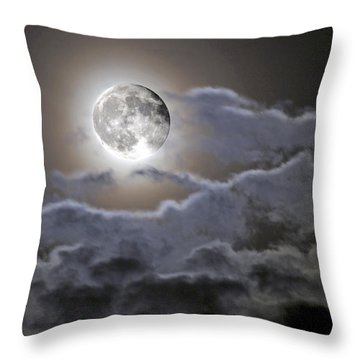 Cloudy Moon Throw Pillow