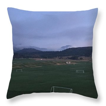 Cloudy Morning At The Field Throw Pillow