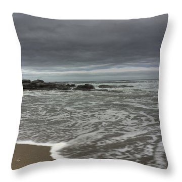 Cloudy On The Beach Throw Pillow