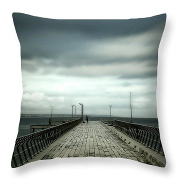 Throw Pillow featuring the photograph Cloudy Pier by Perry Webster