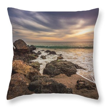 Cloudy Point Dume Sunset Throw Pillow