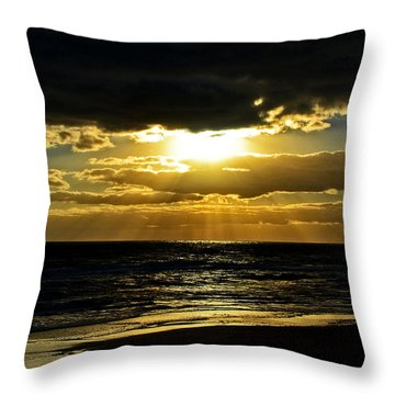 Cloudy Sunrise At Flagler Beach 002 Throw Pillow by George Bostian
