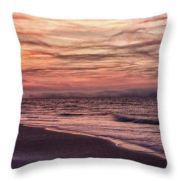 Throw Pillow featuring the photograph Cloudy Sunrise At The Beach by John McGraw
