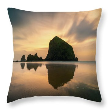 Cloudy Sunset At Cannon Beach Throw Pillow