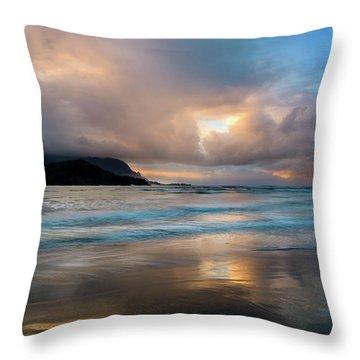 Cloudy Sunset At Hanalei Bay Throw Pillow