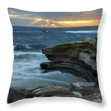 Cloudy Sunset At La Jolla Shores Beach Throw Pillow