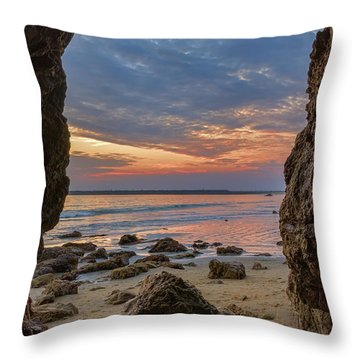 Cloudy Sunset At Low Tide Throw Pillow