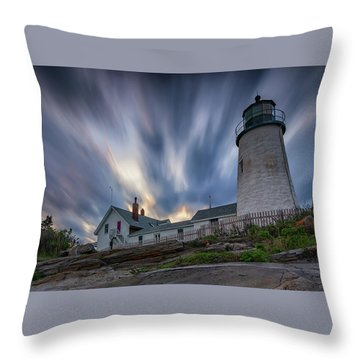 Cloudy Sunset At Pemaquid Point Throw Pillow