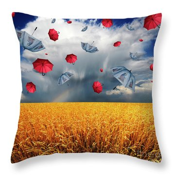 Cloudy With A Chance Of Umbrellas Throw Pillow