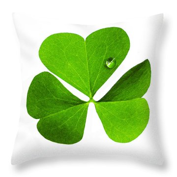 Throw Pillow featuring the photograph Clover And Water Droplet by Roger Bester