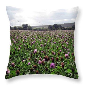 Clover Field Wiltshire England Throw Pillow by Kurt Van Wagner