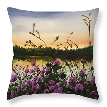 Throw Pillow featuring the painting Clover Sunrise  by Sharon Duguay