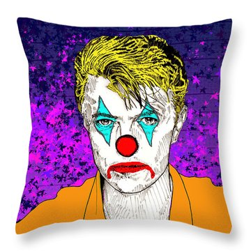 Clown David Bowie Throw Pillow by Jason Tricktop Matthews