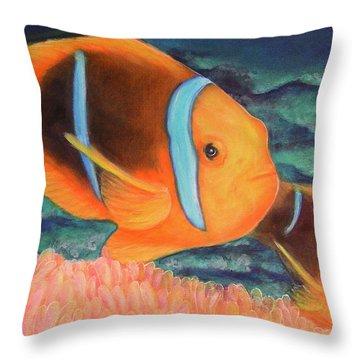 Clown Fish #310 Throw Pillow by Donald k Hall