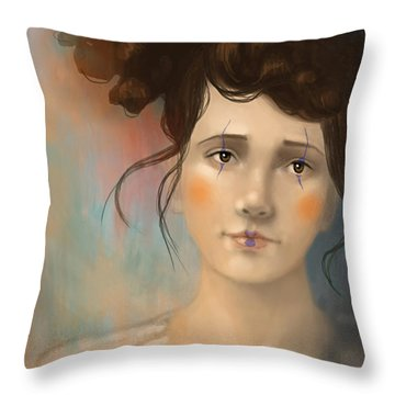 Clown Girl Throw Pillow