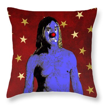 Clown Iggy Pop Throw Pillow by Jason Tricktop Matthews