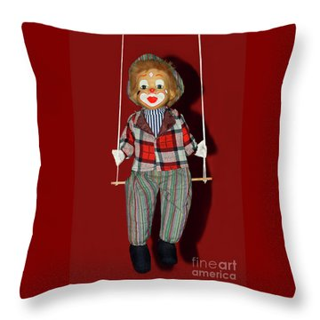 Throw Pillow featuring the photograph Clown On Swing By Kaye Menner by Kaye Menner