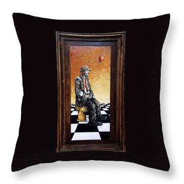 Clown S Melancholy Throw Pillow by Natalia Tejera