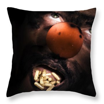 Clown With Capsules In Mouth Throw Pillow
