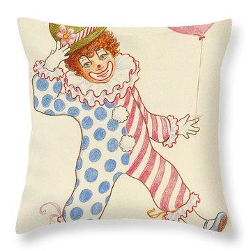 Clowning Around At The Kiddie Parade Throw Pillow by Dee Davis