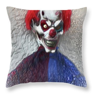Throw Pillow featuring the digital art Clownitis by Terry Cork