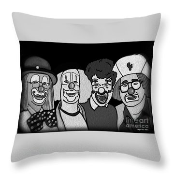 Clowns Bw Throw Pillow by Megan Dirsa-DuBois
