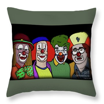 Clowns Throw Pillow by Megan Dirsa-DuBois