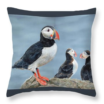 Throw Pillow featuring the painting Clowns Of The Sea. by John Neeve