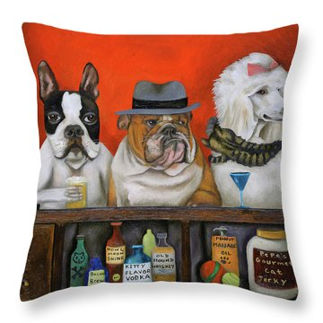 Throw Pillow featuring the painting Club K9 by Leah Saulnier The Painting Maniac