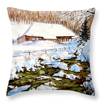 Throw Pillow featuring the painting Clubhouse In Winter by Sher Nasser